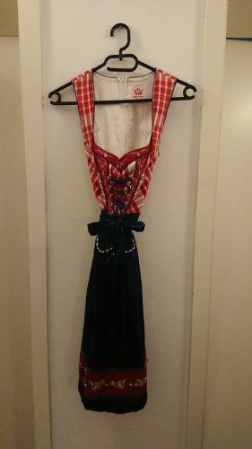 Vestido Dirndl rojo-azul oscuro Algodón