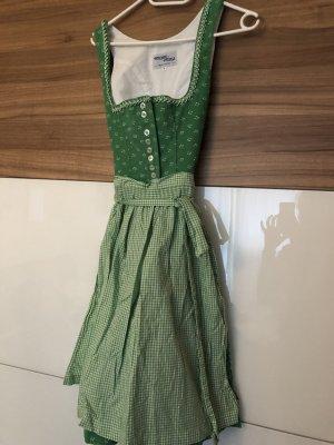 Dirndl grass green-white cotton