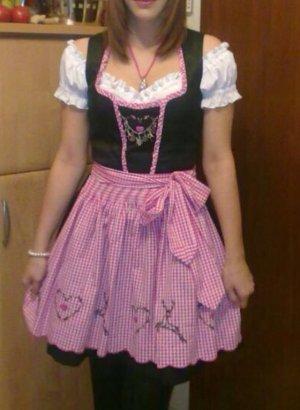Dirndl in rosa und dunkelgrau mit Kleid Schürze + Bluse von Landhaus C&A