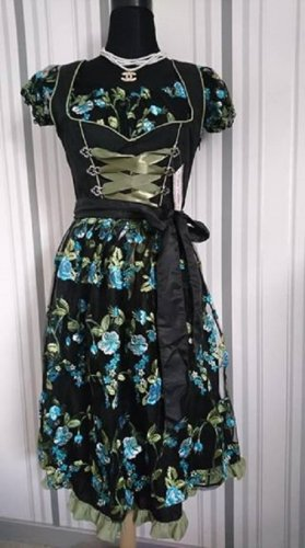 Vestido Dirndl negro-verde Poliéster