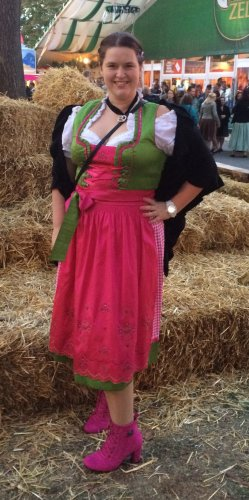 Vestido Dirndl rosa-verde