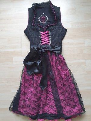 edelheiss Dirndl zwart-roze
