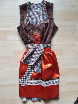 Country Line Dirndl dark brown-light orange