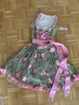 Dirndl mit Blumenschürze - Green/Pink - Größe S 34/36 - Kokett!