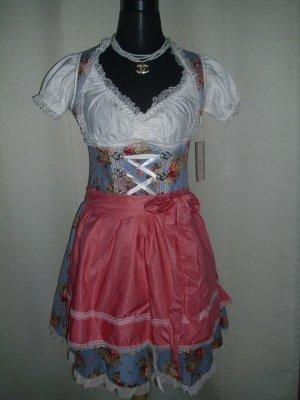 Dirndl bleu-rosé tissu mixte
