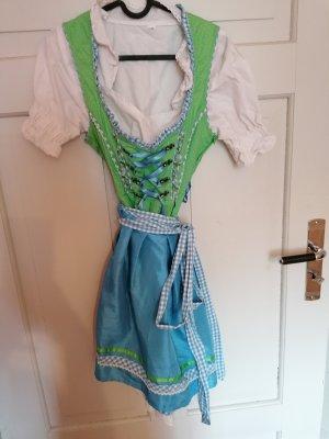 Vestido Dirndl azul celeste-verde hierba