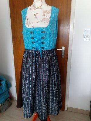 bpc Vestido Dirndl azul neón-marrón oscuro