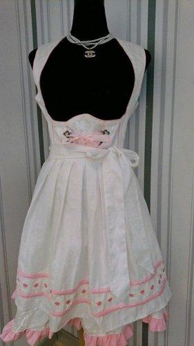 Dirndl mit Schürze (70023) Größe XL = 42 in weiß/rosa
