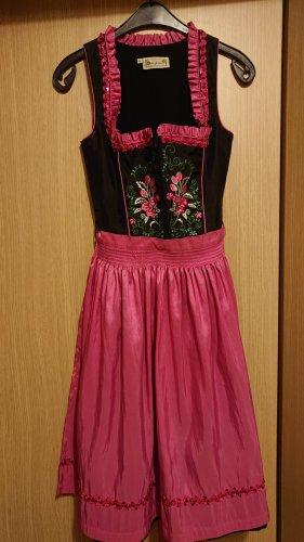 Berghaus Vestido Dirndl negro-rojo frambuesa