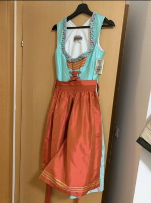 Alpin de luxe Vestido Dirndl azul claro-naranja