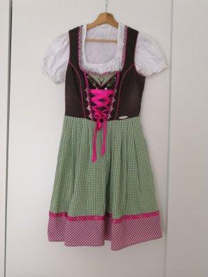 Dirndl pink/grün mit Bluse und Wendeschürze
