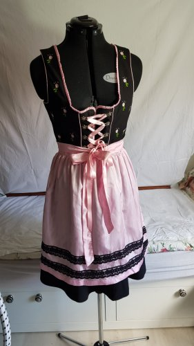 Dirndl schwarz m rosa Schürze