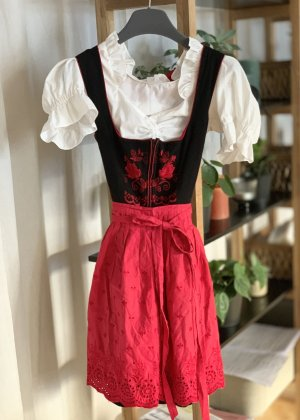 Vestido Dirndl negro-rojo Algodón