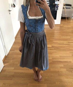 Dirndl tracht Kleid blau grau Stockerpoint xs s 34 36 Oktoberfest Bluse Schürze