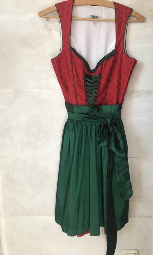 Country Line Midi Dress brick red-forest green
