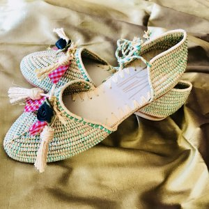 Strappy Ballerinas cream-lime-green