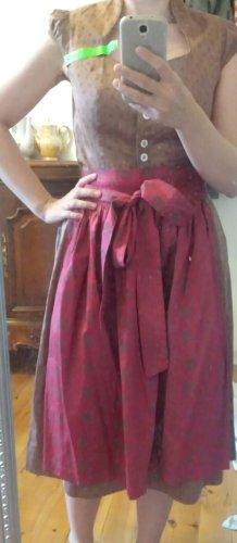 Turi Landhaus Vestido Dirndl marrón grisáceo-rojo oscuro Algodón