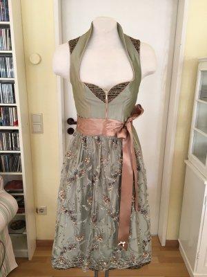 Alpenherz Sukienka z gorsetem szaro-zielony-brzoskwiniowy