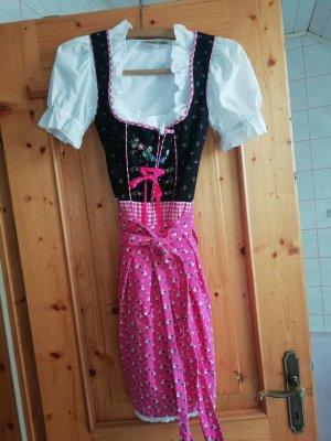 Alpin de luxe Vestido Dirndl negro-rosa