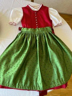 Abito baby-doll verde-rosso scuro Cotone