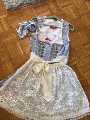 Krüger Dirndl Vestido corsage azul acero-blanco