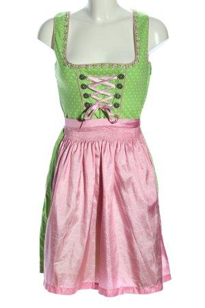 Dirndlschön Vestido Dirndl verde-rosa look efecto mojado