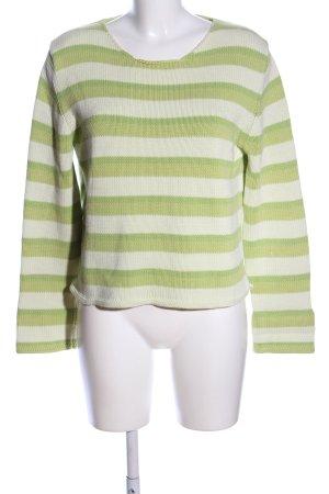 Dirocco Rundhalspullover grün-creme Streifenmuster Casual-Look
