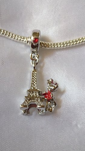Disney Sterlingsilber Charm Eiffelturm mit Micky Maus und rote Zirkonia