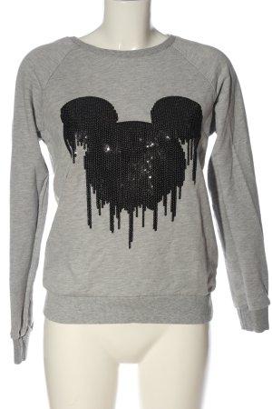 Disney Sweatshirt hellgrau-schwarz meliert Casual-Look