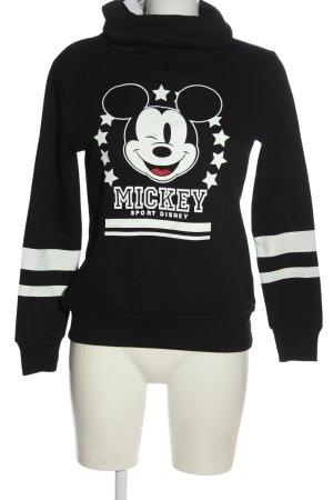 Disney Sweatshirt noir-blanc imprimé avec thème style décontracté