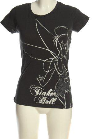 Disney T-shirt noir-blanc imprimé avec thème style décontracté