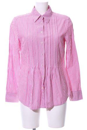 Distler Camicia a maniche lunghe bianco-rosa motivo a righe stile casual