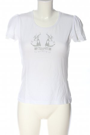Distler T-shirt bianco Stampa a tema stile casual