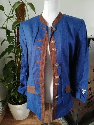 Distler Tradycyjna kurtka brązowy-niebieski