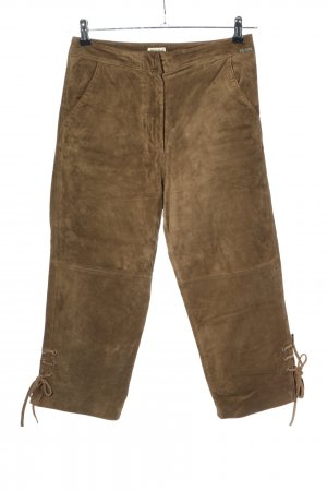 Distler Pantalon traditionnel en cuir bronze lettrage brodé style décontracté