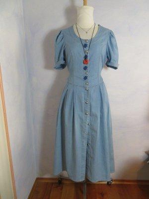 Distler Verwaschen Hellblau geknöpft Jeans Kleid - Gr. M - Edelweiss Dirndl - Midikleid Markt Kleid - Boho