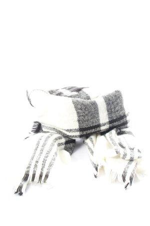 diverse Écharpe à franges noir-blanc motif à carreaux style décontracté