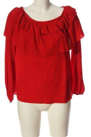 diverse Bluzka z falbankami czerwony Na całej powierzchni W stylu casual