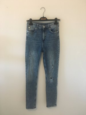Divided destroyed ripped Jeans Hose bleached Denim slim High waist 38 elastisch Elasthan stretch