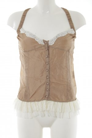 Divina Lace Blouse brown-natural white weave pattern extravagant style