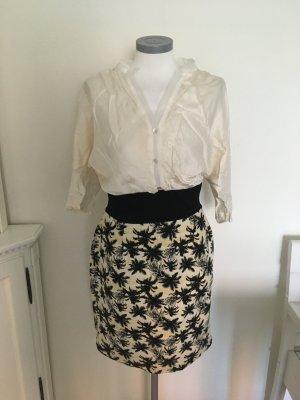 Dixie Kleid schwarz gelb beige creme Palmen 36 S
