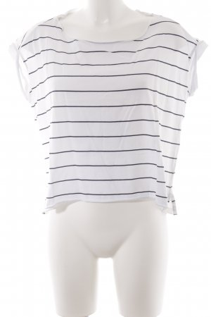 Dixie T-shirt bianco-nero motivo a righe stile casual