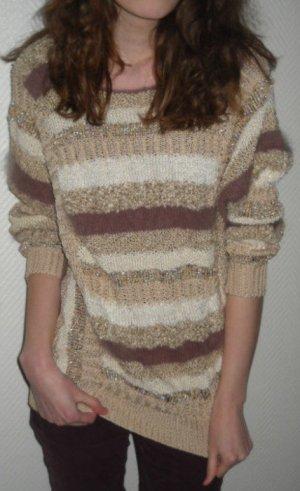 DIY Pullover Pulli Mohair/Wolle/Tierhaar Streifen beige crem braun 34 36 38 XS S H M Handarbeit