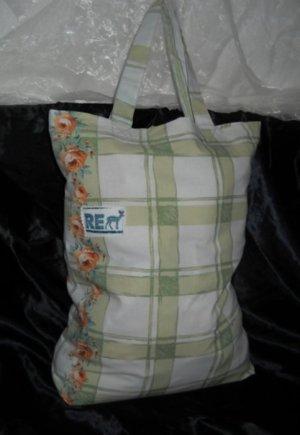 DIY Tasche Einkauf Bag Stoff Shopper h m Beutel Blumen Neu Unikat Selten Vintage