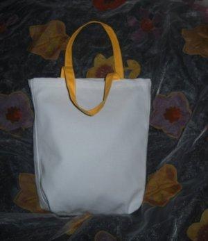 DIY Tasche Einkauf Bag Stoff Shopper h m Beutel weiß Henkel in Gelb Neu Unikat