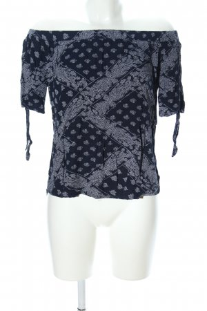 Dizzylizzy Carmenshirt schwarz-hellgrau abstraktes Muster Casual-Look