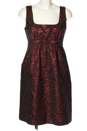 DKNY Robe trapèze brun-rouge imprimé allover élégant