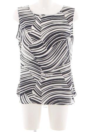 DKNY ärmellose Bluse schwarz-weiß Allover-Druck Casual-Look