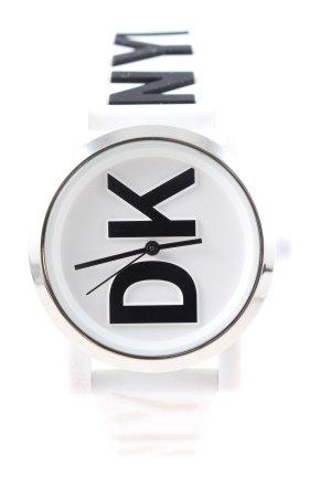 DKNY Analoguhr weiß-schwarz Schriftzug gedruckt Casual-Look