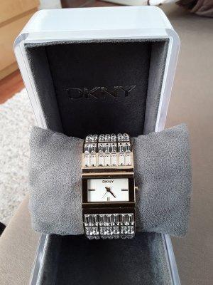DKNY Armbanduhr mit viel Glitzersteinen und Metallband, gelb gold
